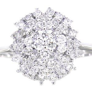 Diamond Cluster Cocktail PartyWear Ring White Gold